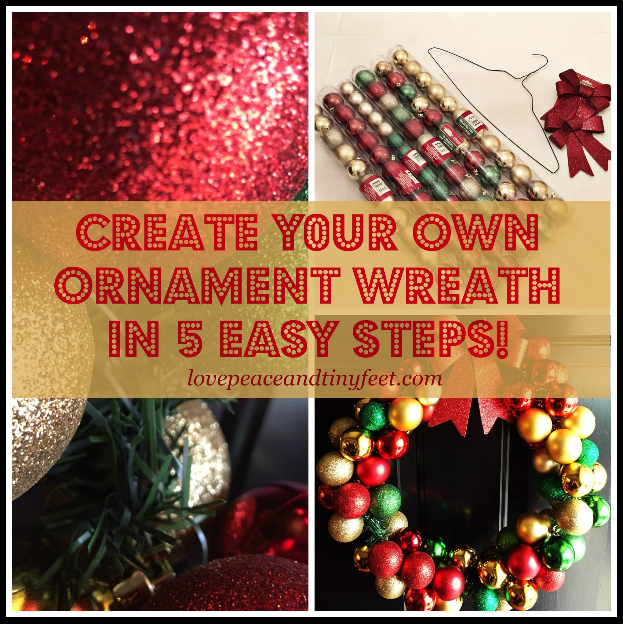 Diy Christmas Ornament Wreath In 5 Easy Steps