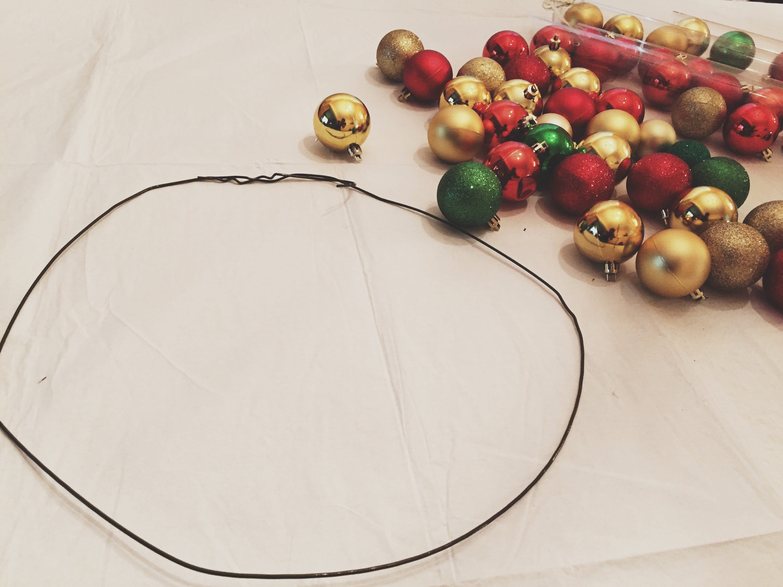 diy ornament wreath supplies