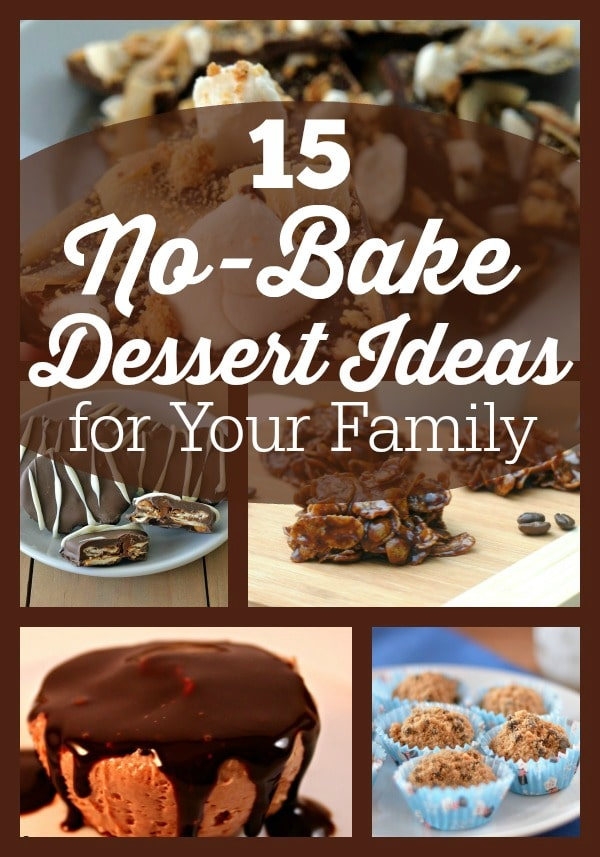 Here's a list of 15 rich and delicious no-bake dessert recipes from cheesecake bars to vegan fudge.These are sure to be a crowd pleaser for the whole family.