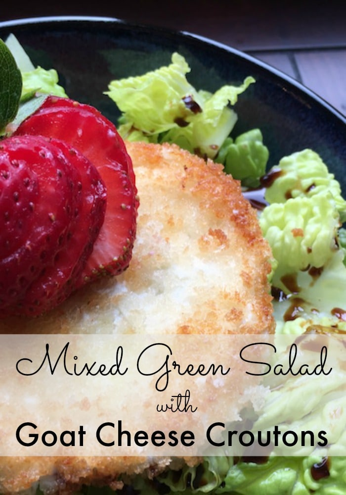 This crisp, refreshing summer recipe is made with goat cheese and strawberries on top of mixed greens.  View the full recipe for this mixed green salad with warm goat cheese croutons.