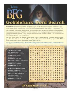 Gobblefunk Word Search from Disney's The BFG