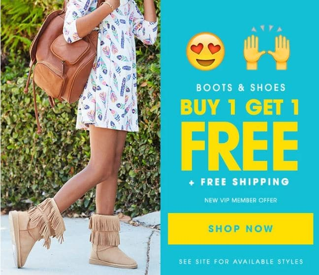 Fabkids VIP Deal - buy 1 get one free fuzzy boots deal