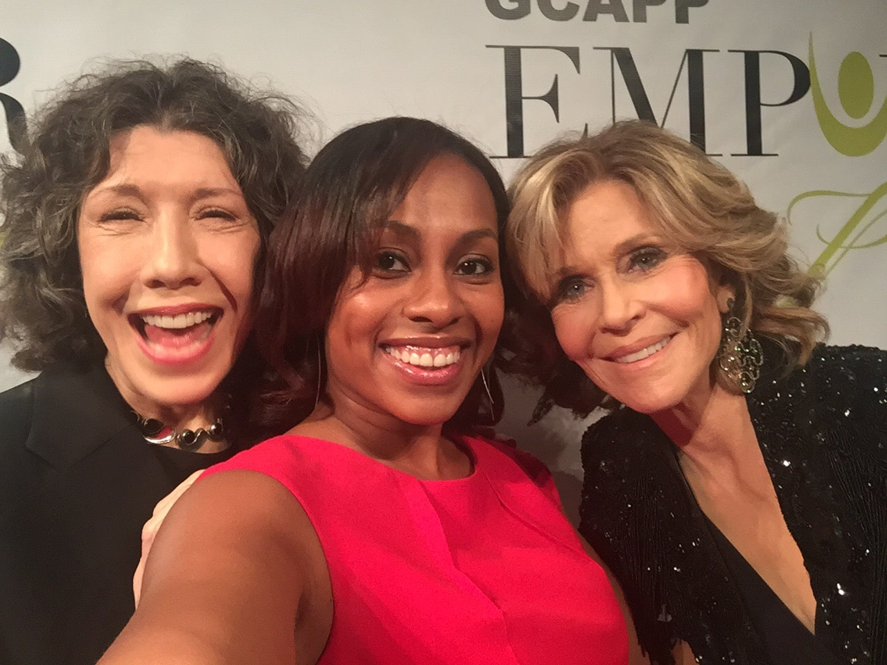 Lily Tomlin, Jane Fonda and Atlanta Blogger Ari Adams at GCAPP Empower Party in Atlanta GA