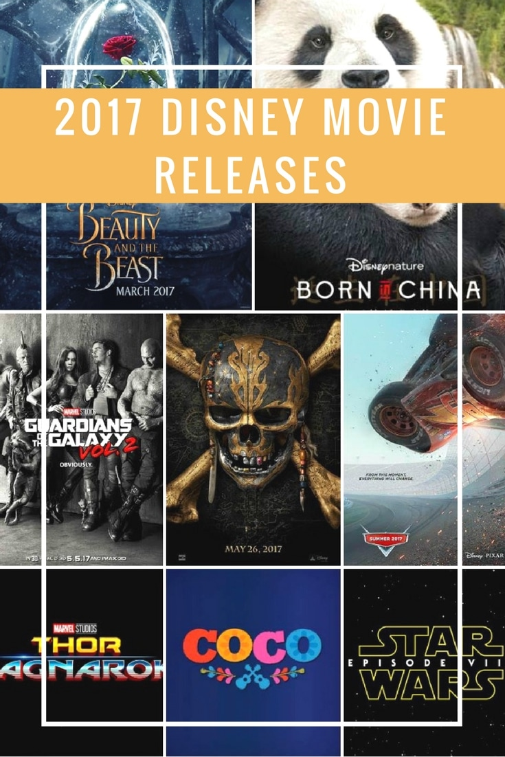 Full listing of 2017 Disney Movie Releases and official trailers for Beauty and the Beast, Born in China, Cars 3, Coco, Thor, Star Wars Episode VIII, + more