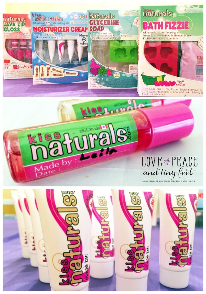 DIY Soaps, DIY Bath Fizzies, DIY Lip Gloss, and DIY Moisturizers - These DIY Kits by Kiss Naturals make the perfect slumber party activity for girls!