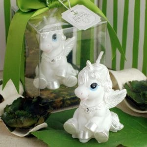 unicorn smokeless candle perfect for baby or bridal shower game prizes, baby shower cakes, and more.
