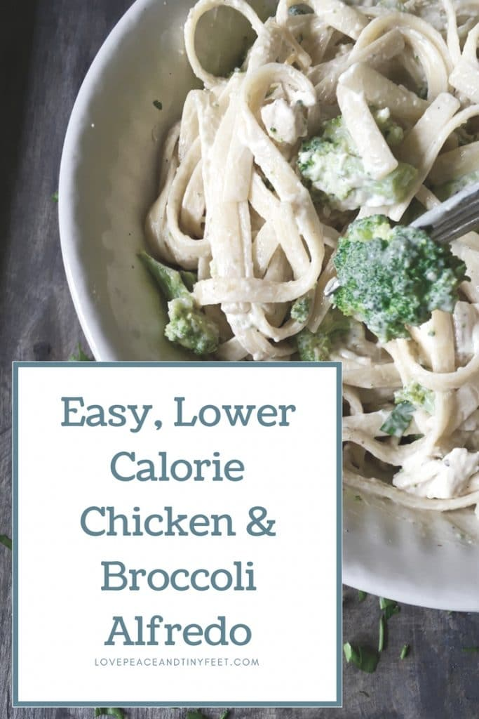 This easy, lower calorie recipe for chicken and broccoli alfredo is perfect kid-friendly main dish for the whole family.