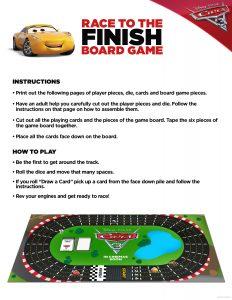 Cars 3 Board Game Printable
