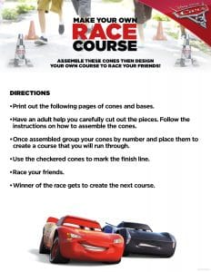 Kids activity sheet from Cars 3 - make your own race course