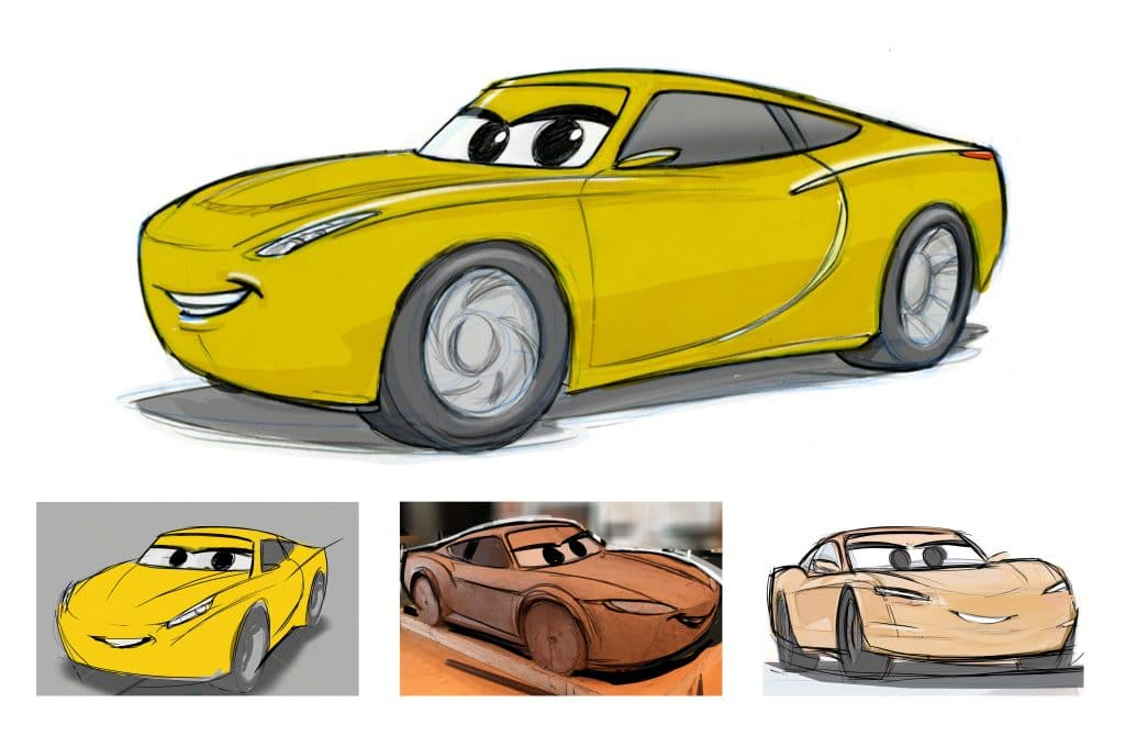 CARS 3 (Pictured) - Cruz Ramirez visual development progression. Design by Bob Pauley, Model by Andrew Schmidt and Sculpt by Jerome Ranft. ©2017 Disney•Pixar. All Rights Reserved.
