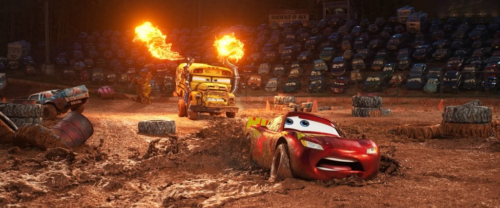 """CRAZY 8 DRAMA — In """"Cars 3,"""" Lightning McQueen (voice of Owen Wilson) hits the road in an effort to reignite his career. Along the way, he finds himself in the middle of a smash-and-crash, figure-8 race, facing off against local legend Miss Fritter, a formidable school bus who—like #95 himself—doesn't like to lose. Featuring Lea DeLaria (Netflix's """"Orange is the New Black"""") as the voice of Miss Fritter, Disney•Pixar's """"Cars 3"""" opens in U.S. theaters on June 16, 2017. ©2017 Disney•Pixar. All Rights Reserved."""