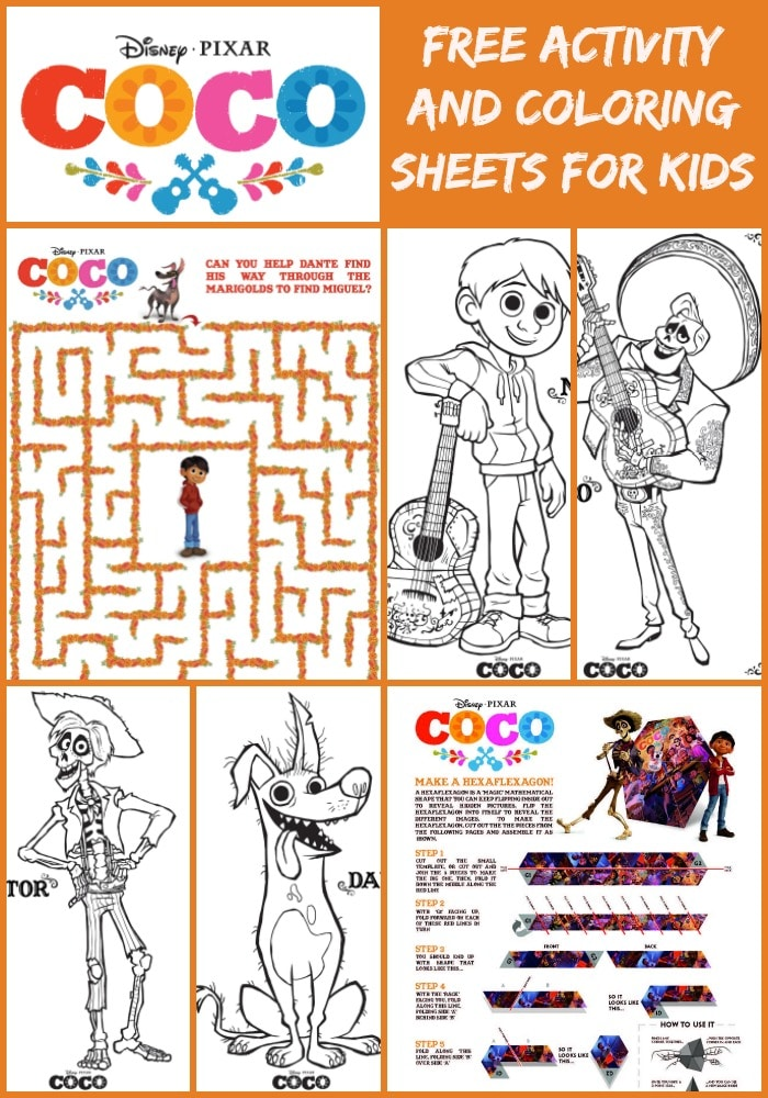 Disney's Coco comes to theaters this November. Here are some fun and free printable coloring sheets and activity sheets from the movie Coco to entertain the kids!