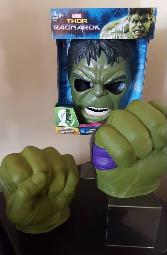 hulk mask and hand