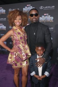 HOLLYWOOD, CA - JANUARY 29: Ryan Michelle Bathe, actor Sterling K. Brown, and guest at the Los Angeles World Premiere of Marvel Studios' BLACK PANTHER at Dolby Theatre on January 29, 2018 in Hollywood, California. (Photo by Jesse Grant/Getty Images for Disney) *** Local Caption ***