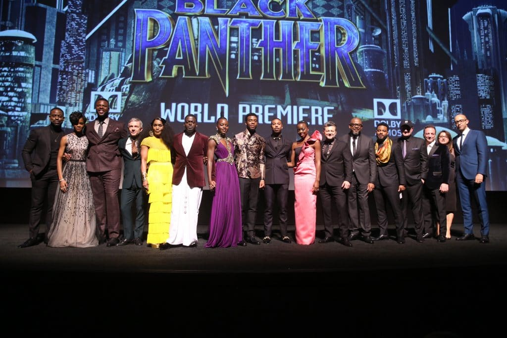 HOLLYWOOD, CA - JANUARY 29: (L-R) Actors Sterling K. Brown, Letitia Wright, Winston Duke, Martin Freeman, Angela Bassett, Daniel Kaluuya, Lupita Nyong'o, Chadwick Boseman, Michael B. Jordan, Danai Gurira, Andy Serkis, and Forest Whitaker; writer/director Ryan Coogler; Marvel Studios President Kevin Feige; producers Louis D'Esposito and Victoria Alonso, and executive producer Nate Moore at the Los Angeles World Premiere of Marvel Studios' BLACK PANTHER at Dolby Theatre on January 29, 2018 in Hollywood, California. (Photo by Jesse Grant/Getty Images for Disney) *** Local Caption *** Sterling K. Brown; Letitia Wright; Winston Duke; Martin Freeman; Angela Bassett; Daniel Kaluuya; Lupita Nyong'o; Chadwick Boseman; Michael B. Jordan; Danai Gurira; Andy Serkis; Forest Whitaker; Ryan Coogler; Kevin Feige; Louis D'Esposito; Victoria Alonso; Nate Moore