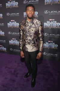 Chadwick Boseman at the Los Angeles World Premiere of Marvel Studios' BLACK PANTHER at Dolby Theatre on January 29, 2018 in Hollywood, California. (Photo by Jesse Grant/Getty Images for Disney) *** Local Caption *** Chadwick Boseman