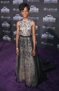 HOLLYWOOD, CA - JANUARY 29: Actor Letitia Wright at the Los Angeles World Premiere of Marvel Studios' BLACK PANTHER at Dolby Theatre on January 29, 2018 in Hollywood, California. (Photo by Jesse Grant/Getty Images for Disney) *** Local Caption ***