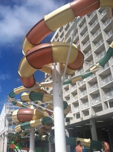 4 story water slide at Crown Reef Resort