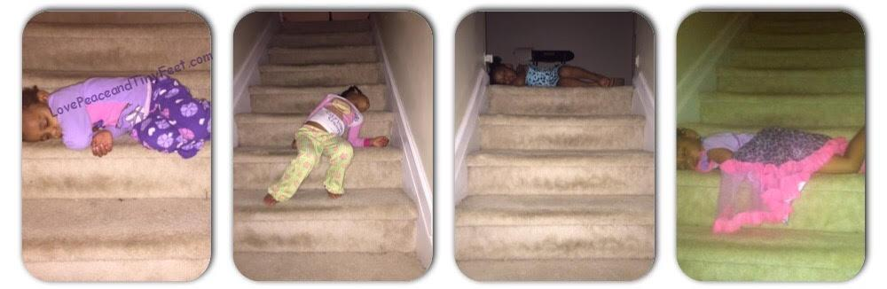 Kids sleeping on stairs