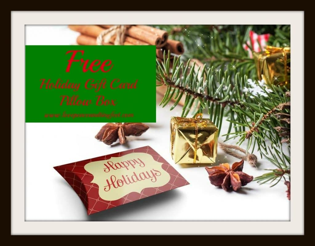 free holiday gift card pillow box