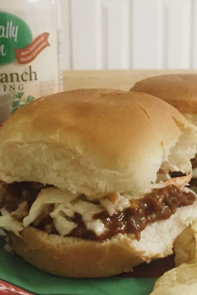 Easy Game Day Recipe: Barbecue Beef or Chicken Sliders with Ranch Slaw