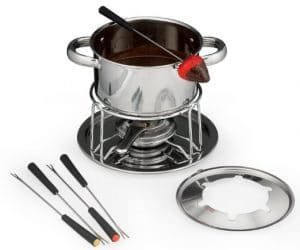 fondue pot with chocolate fondue