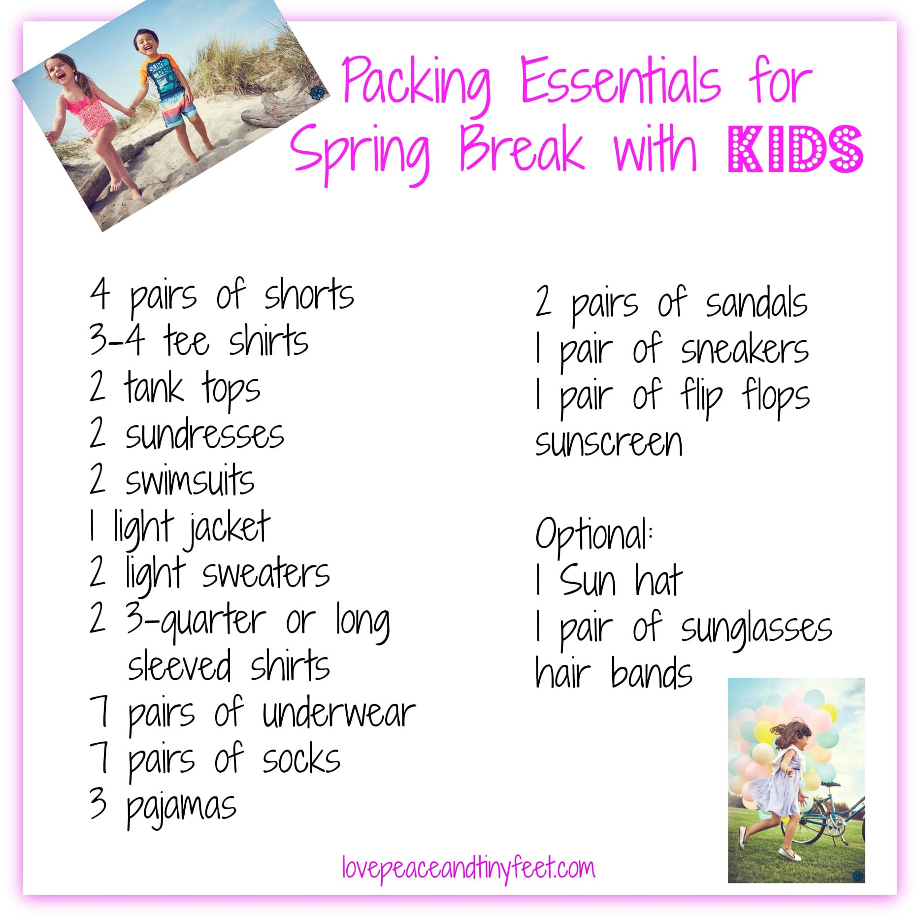 printable spring break checklist
