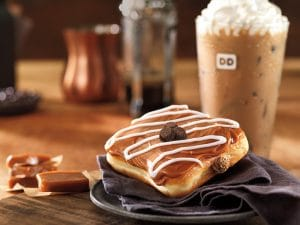 Caramel Latte Square Donut with Iced Latte at Dunkin Donuts