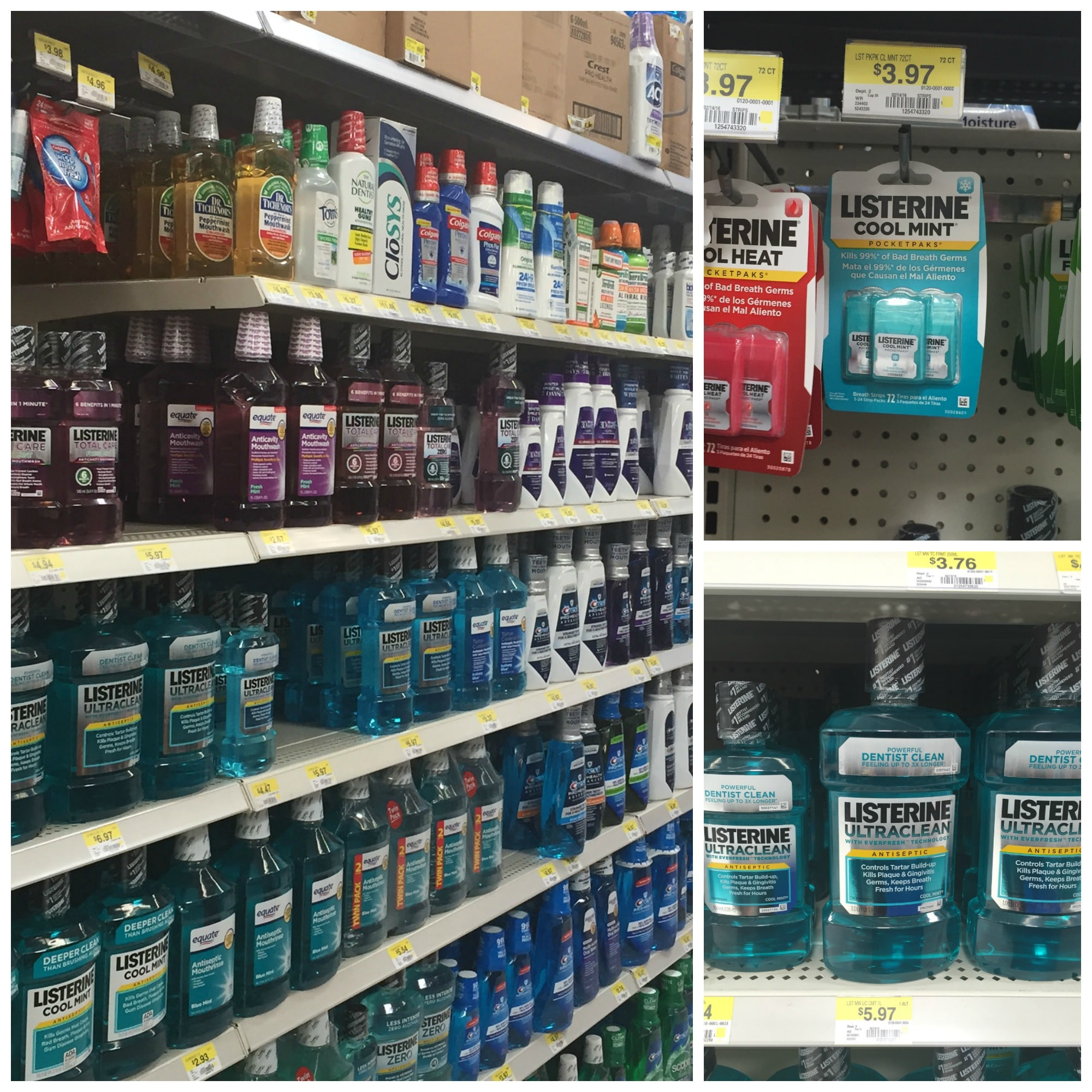 Listerine products at Walmart