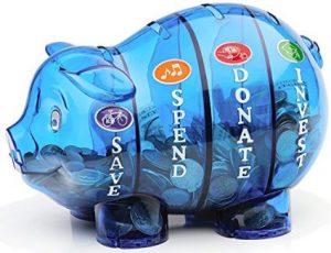 money bank to teach kids about saving
