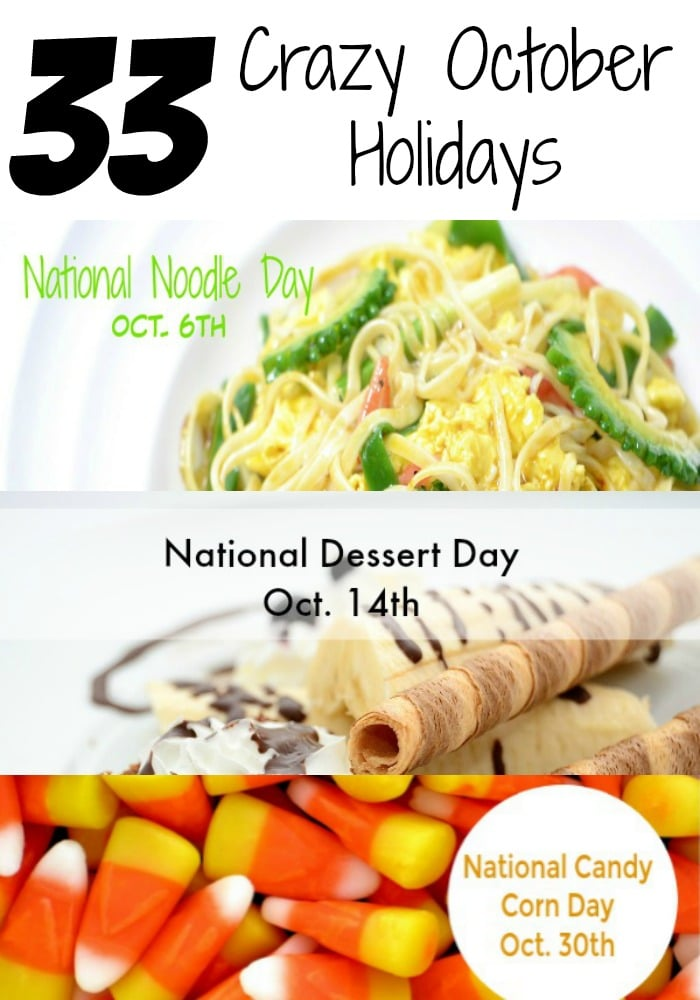 October marks the start of the holiday season, but also has many wacky and crazy holidays you've probably never heard of - National Bologna Day, National Noodle Day, National Candy Corn Day, just to name a few. Check out all of these crazy October Holidays here!