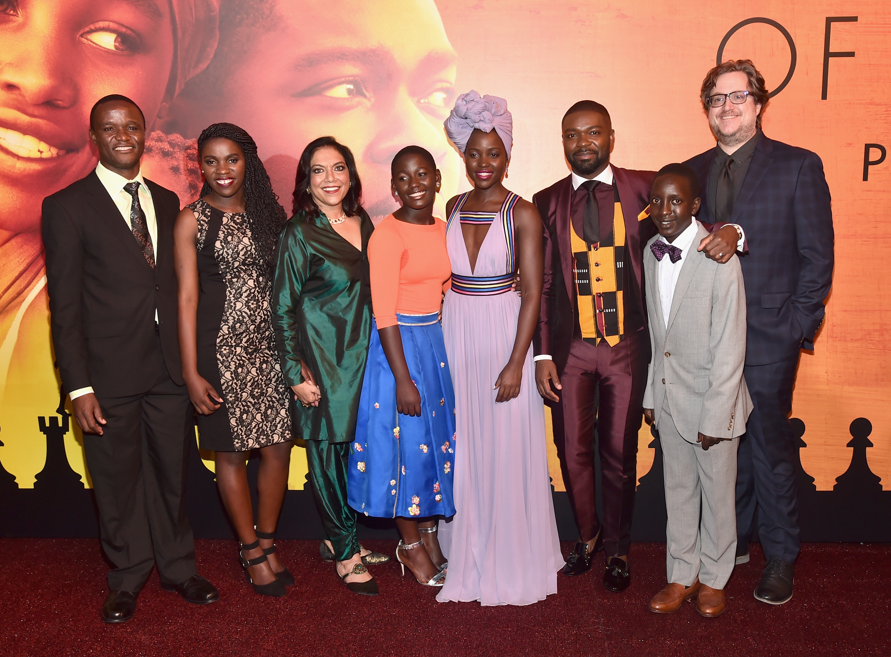 (L-R) Chess Coach and Director of Sports Outreach in Uganda, Robert Katende, Ugandan national chess champion Phiona Mutesi, Director Mira Nair, actors Madina Nalwanga, Lupita Nyong'o, David Oyelowo, Martin Kabanza and William Wheeler