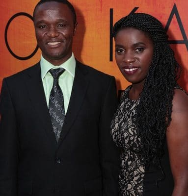 Phiona Mutesi and Robert Katende at red carpet premiere of Queen of Katwe