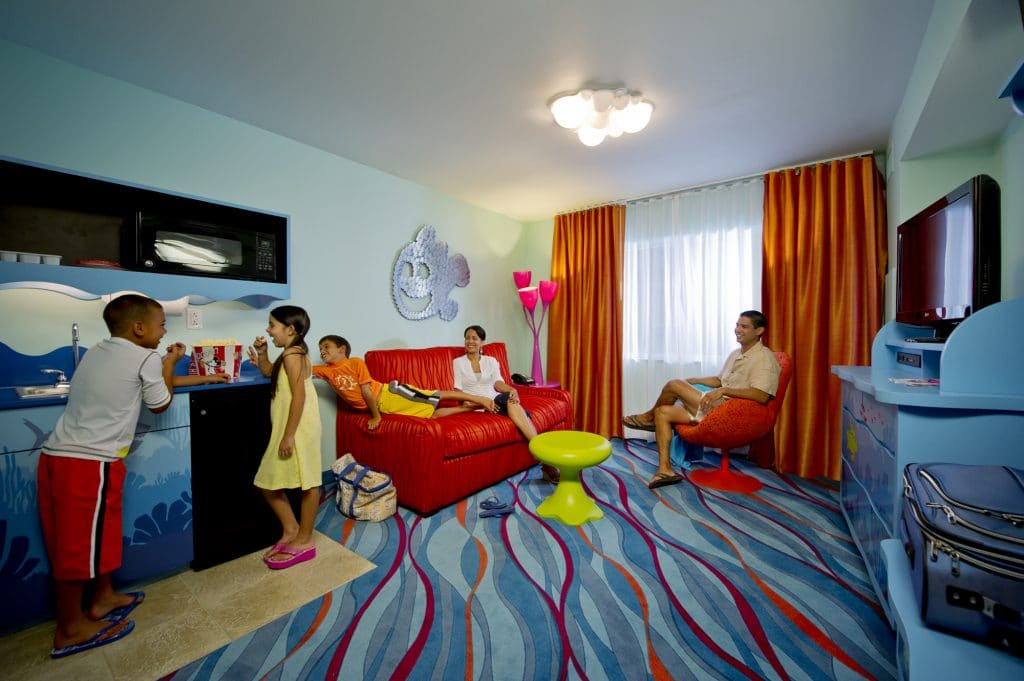 "Opening in phases beginning May 31, 2012, Disney's Art of Animation Resort will feature themed family suites and standard rooms. Inspired by Disney animation, the property immerses guests into classic Disney and Disney¥Pixar films including ÒFinding Nemo,Ó ÒCarsÓ and ""The Lion King"" in 1,120 suites, and 864 standard rooms in ""The Little Mermaid"" wing. Larger-than-life icons, including Mr. Ray, Crush and Nemo himself from ÒFinding Nemo,Ó grace the courtyard areas. Disney's Art of Animation Resort is located next to Disney's Pop Century Resort. (Kent Phillips, photographer)"