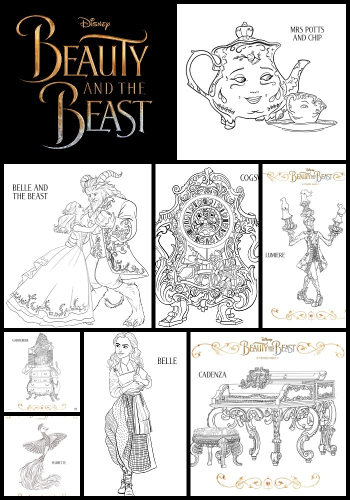 Beauty and the Beast Printable Kids Activity Sheets and Coloring Pages