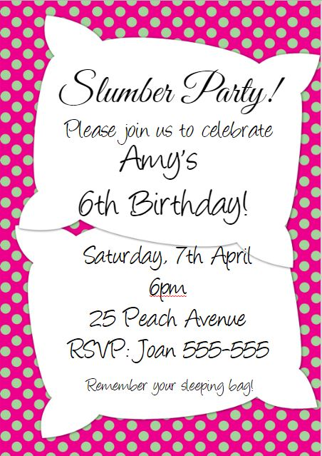 slumber party invitation example and wording