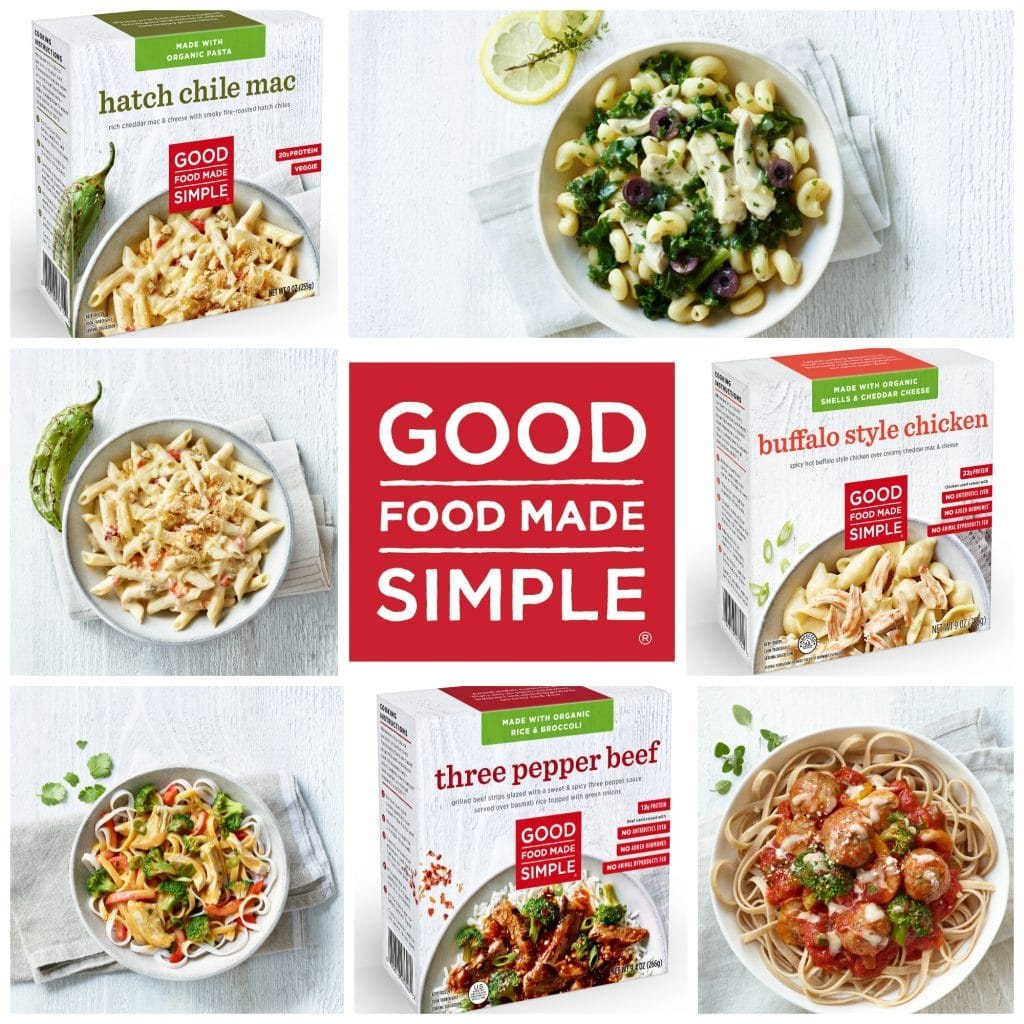 Here are just some things you'll love about Good Food Made Simple entrée meals: Made with organic ingredients - free of pesticides and herbicides and organically sourced ingredients. Humanely raised meats & cage-free eggs. - no antibiotics, hormones or animal byproducts. Antibiotic free No added hormones No artificial flavors No artificial ingredients