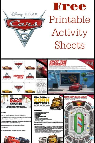 Free Cars 3 Activity Sheets for Kids – Build your own race course and more!