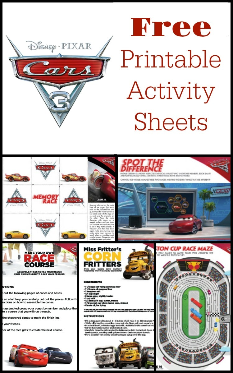 Here are some fun and free printable kids activity sheets and coloring pages from the Disney Pixar Cars 3 movie to keep the kids busy this summer!!