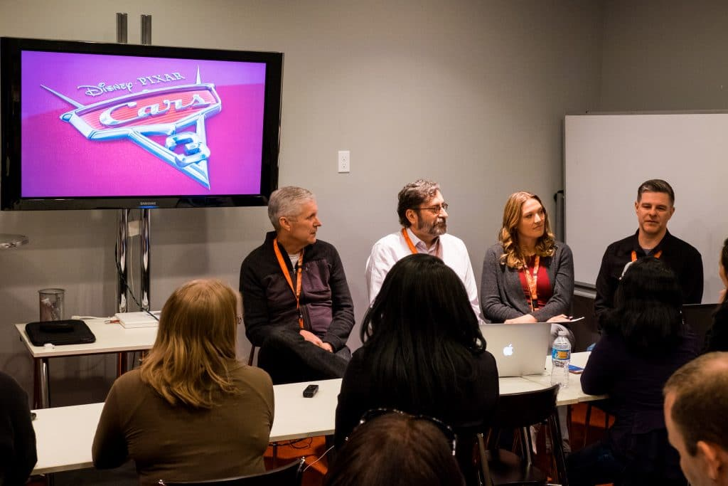 "The ""Cars 3"" Long Lead Press Days, held at Sonoma Raceway, including presentations by the ""Cars 3"" writers (left to right) Mike Rich, Bob Peterson and Kiel Murray and Story Supervisor Scott Morse, held on March 28, 2017 in Sonoma, Calif. (Photo by Marc Flores)"