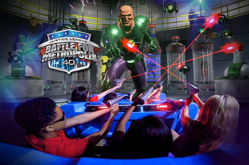 Shooting at Lex Luthor during the new ride at Six Flags Battle for Metropolis