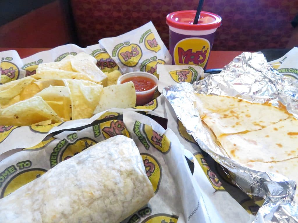 Moe's burrito, quesadilla and chips