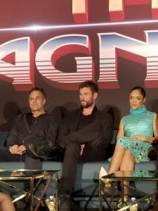 Mark Ruffalo, Chris Hemsworth and Tessa Thompson at the Thor Ragnarok Press Conference