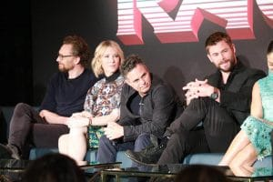 Tom Hiddleston, Cate Blanchett, Mark Ruffalo, Chris Hemsworth and Tessa Thompson at the Thor Ragnarok Press Conference