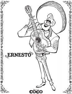 Disney Coloring Sheets: Ernesto Coco
