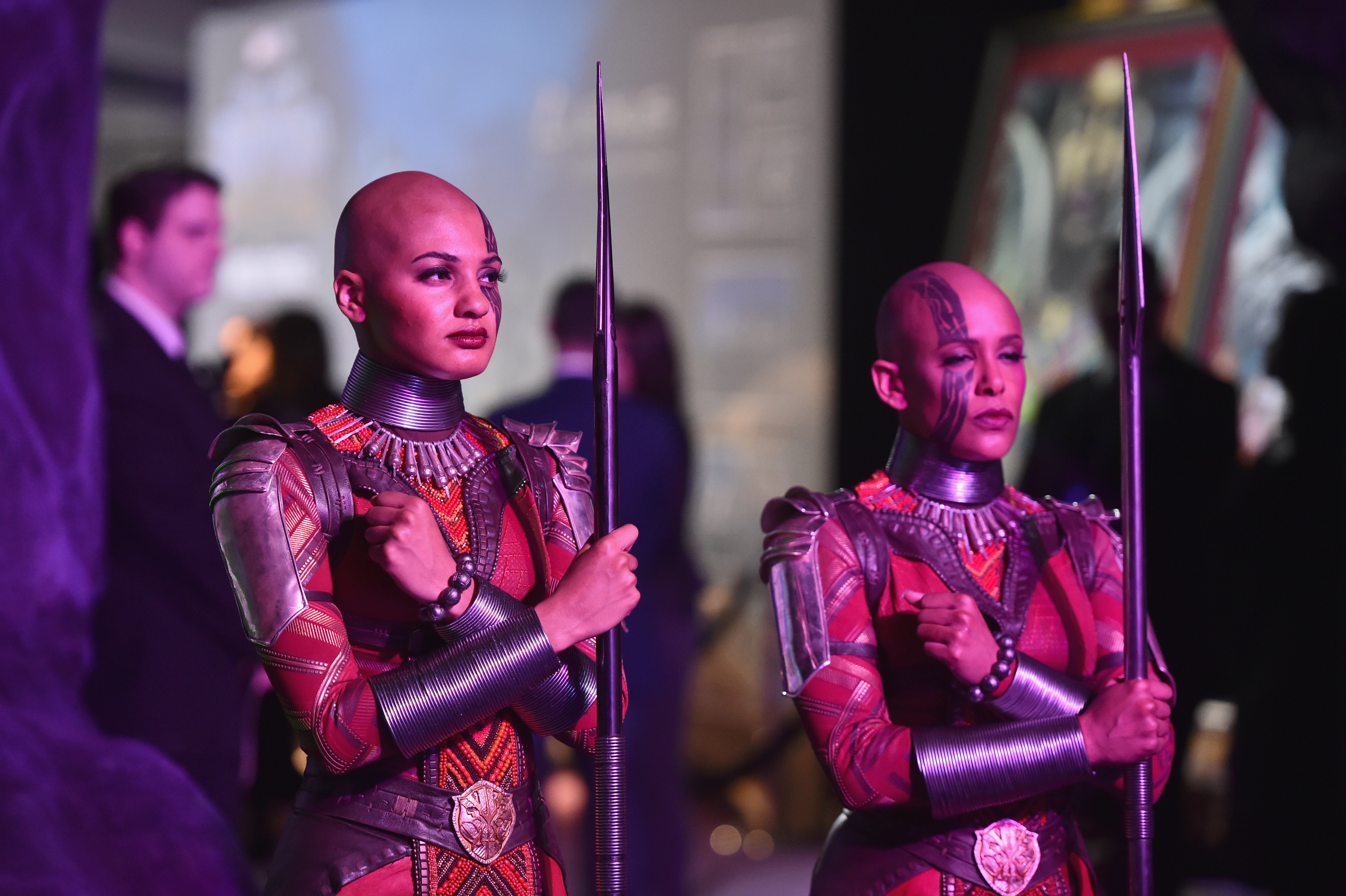HOLLYWOOD, CA - JANUARY 29: View of atmosphere at the Los Angeles World Premiere of Marvel Studios' BLACK PANTHER at Dolby Theatre on January 29, 2018 in Hollywood, California.