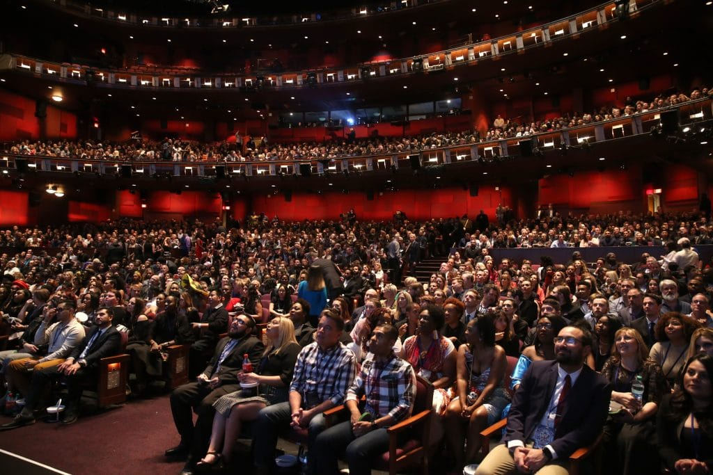 HOLLYWOOD, CA - JANUARY 29: Audience at the Los Angeles World Premiere of Marvel Studios' BLACK PANTHER at Dolby Theatre on January 29, 2018 in Hollywood, California. (Photo by Jesse Grant/Getty Images for Disney)