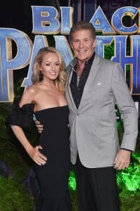 HOLLYWOOD, CA - JANUARY 29: Actor David Hasselhoff (R) and Hayley Roberts at the Los Angeles World Premiere of Marvel Studios' BLACK PANTHER at Dolby Theatre on January 29, 2018 in Hollywood, California. (Photo by Alberto E. Rodriguez/Getty Images for Disney) *** Local Caption ***