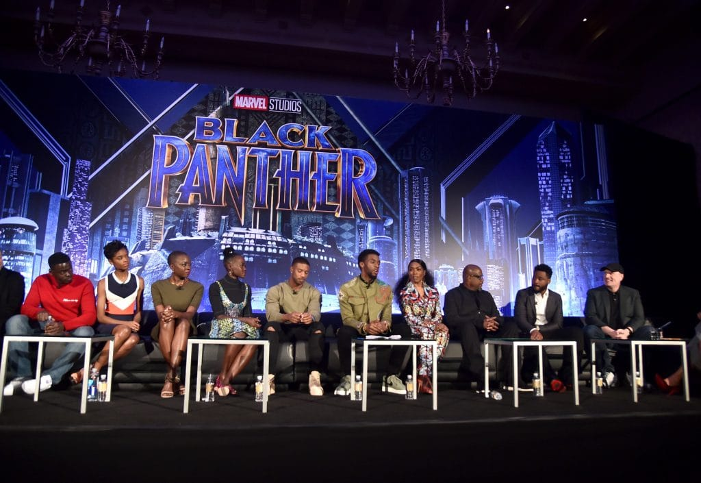 BEVERLY HILLS, CA - JANUARY 30: (L-R) Actors Daniel Kaluuya, Letitia Wright, Danai Gurira, Lupita Nyong'o, Michael B. Jordan, Chadwick Boseman, Angela Bassett, and Forest Whitaker, director Ryan Coogler, and President of Marvel Studios Kevin Feige attend the Marvel Studios' BLACK PANTHER Global Junket Press Conference on January 30, 2018 at Montage Beverly Hills in Beverly Hills, California. (Photo by Alberto E. Rodriguez/Getty Images for Disney) *** Local Caption *** Daniel Kaluuya; Letitia Wright; Danai Gurira; Lupita Nyong'o; Michael B. Jordan; Angela Bassett; Forest Whitaker; Ryan Coogler; Kevin Feige
