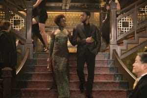 Marvel Studios' BLACK PANTHER..L to R: Nakia (Lupita Nyong'o) and T'Challa/Black Panther (Chadwick Boseman)..Photo: Matt Kennedy..